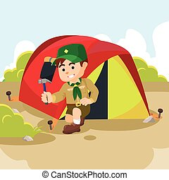 boy scout preparing tent