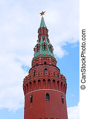 Moscow Kremlin tower - Moscow, Russia - May, 6, 2016: view...