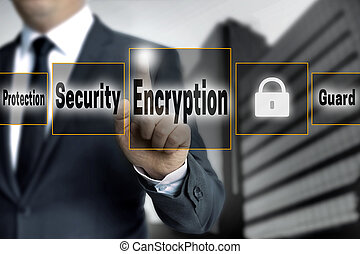 encryption touchscreen is operated by businessman