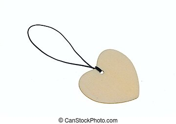 3D rendering heart shape wooden talisman - Isolated heart...