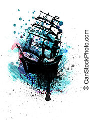 Frigate Ship Sketch - Old sail ship, frigate in the sea...