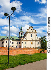 Church on the Skalka and Vistula boulevards in old town in...