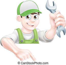 Man Holding Spanner and Pointing - A cartoon plumber or...