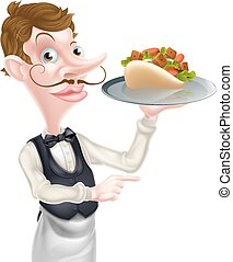 Cartoon Kebab Pita Waiter Pointing - An Illustration of a...