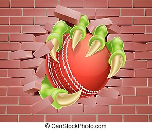 Claw with Cricket Ball Breaking Through Brick Wall - An...