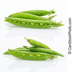 Fresh green pea pods set, isolated on white background
