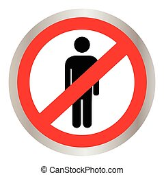 No people allowed. No man sign isolated on white background
