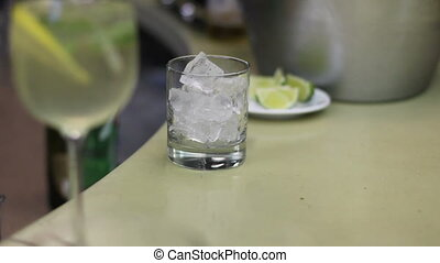 glass with ice without whiskey