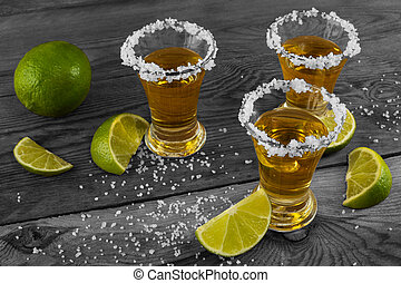 Three shots of gold tequila, vintag - Three shots of gold...