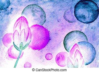 Lotus Flower Watercolor - Water lily, lotus flower,...