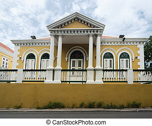 Colonial Architecture, Curacao - Yellow Coloured Colonial...