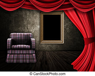 Room with armchair, curtains and frame