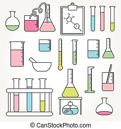 Chemical test tubes icons line