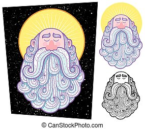 Saint - Cartoon illustration of saint in 3 versions.