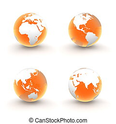 3D Globes in White and Shiny Transparent Orange - four views...
