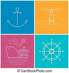 Set of Colorful Maritime Icons for Web Design, Anchor Icon,...