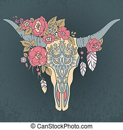Decorative Indian bull skull with ethnic ornament, flowers...