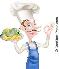 Chef Holding Fish and Chips Giving Perfect Sign - An...