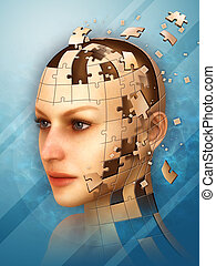Identity puzzle - Three dimensional puzzle creating a female...