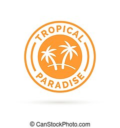 Tropical holiday paradise icon with palm trees symbol stamp.
