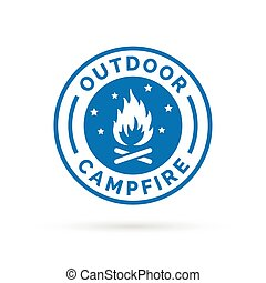 Outdoor campfire icon with wood fire and stars symbol stamp.