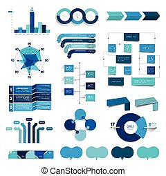 Collection of charts, graphs, flowcharts. Infographics in blue color.