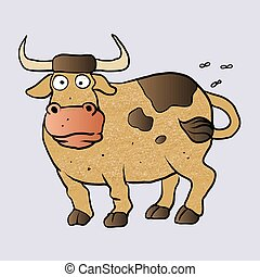Bull cartoon.vector illustration