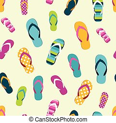 Flip flop color summer pattern. Seamless repeat pattern,...