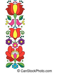 Seamless Hungarian embroidery - Vector background -...