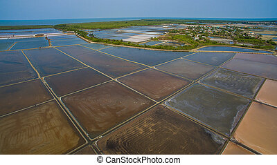 aerial view of agriculture area in central of thailand preparing for producing natural sea salt in ban leam distric petchaburi thailand