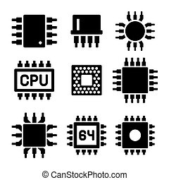 CPU Microprocessor and Chips Icons Set Vector illustration