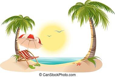 Palm tree. Beach umbrella - Beach chaise longue under palm...