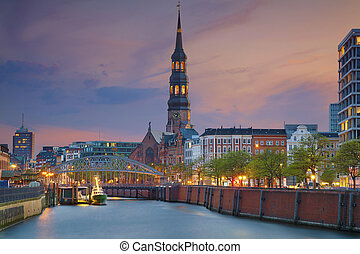 Hamburg. - Image of Hamburg- Speicherstadt during twilight...