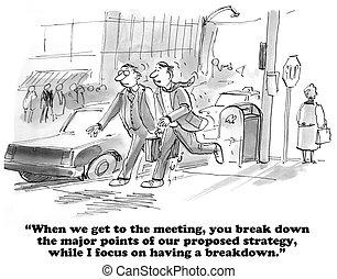 Breakdown - Business cartoon about two types of break down....