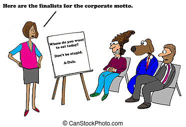 Motto - Business cartoon about very unenthusiastic company...