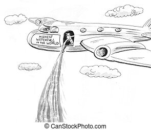 Waterfall - Business cartoon about the highest waterfall