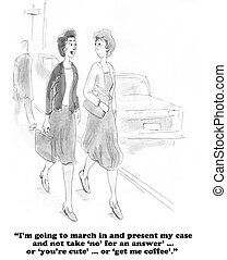 Feminist - Business cartoon about a businesswoman who is...