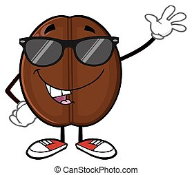 Funny Coffee Bean With Sunglases - Funny Coffee Bean Cartoon...