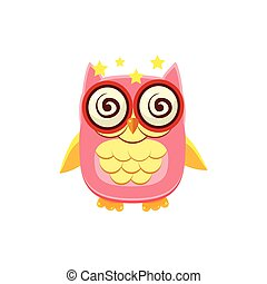 Dizzy Pink Owl Adorable Emoji Flat Vector Caroon Style...
