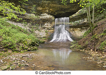 Porter Falls, a waterfall in rural Indiana, flows from a...
