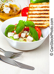 Fresh mediterranean salad - Fresh salad of cheese, tomato,...