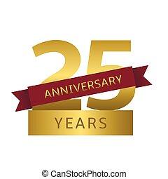 25 years anniversary - 25 Anniversary years Golden symbol...