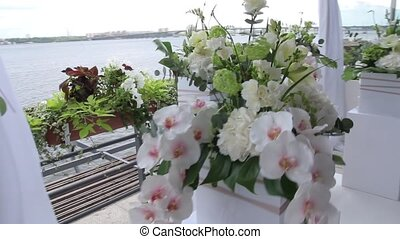 Flowers in pots on wedding ceremony outdoors, beautiful...