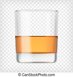 Glass of scotch whiskey Shot of alcohol Short glass with...