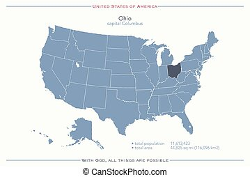 ohio - United States of America isolated map and Ohio State...