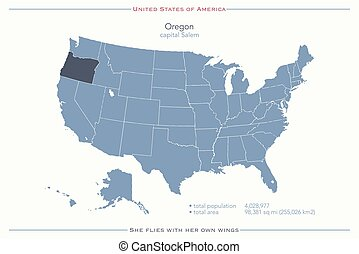 oregon - United States of America isolated map and Oregon...