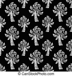 seamless pattern with Apple trees vector - black seamless...