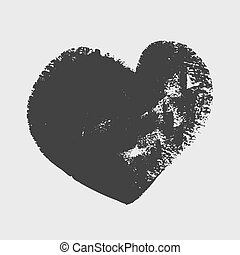 Cliche of black heart on a white background. Vector art.