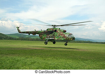 military helicopter - Camouflaged russian helicopter Mil Mi...