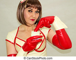 Attractive woman role playing a nurse. - Attractive woman...